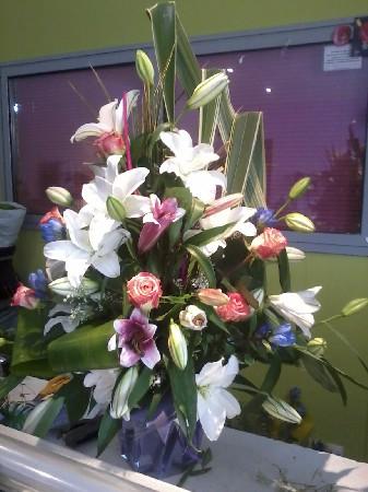 plante garnie  de fleurs piquées dans carré de mousse ,très bel effet